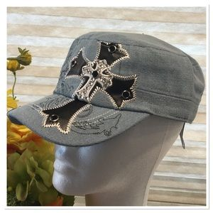 Rhinestone & Leather Cadet Cap